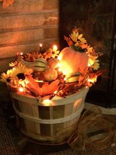 Fill a Basket with Leaves & Christmas Lights...these are the BEST DIY Fall Decorations & Craft Ideas!