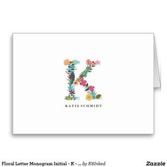 Floral Letter Monogram Initial - K - Folded Personalized Note Card - http://www.zazzle.com/k8inked*