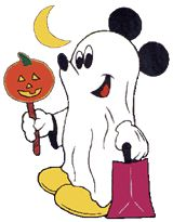 Disney Mickey Mouse Halloween Costume Clipart: Mickey Mouse in a funny ghost costume the moon shines down and Mickey carries a jack-o-lanter...