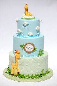 Mother and Baby Giraffe Baby Cake Tutorial. Great Tutorial and great ideas for creating other effects Giraffe Cakes, Safari Cakes, Baby Shower Giraffe, Baby Shower Cakes, Boy Shower, Fancy Cakes, Cute Cakes, Fondant Cakes, Cupcake Cakes