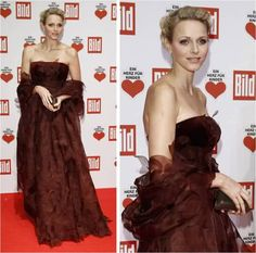 Princess Charlene in raisin colored dress