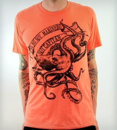 Octopus La Bamba T-Shirt in Men's by Dark Cycle Clothing on Scoutmob Shoppe. A black octopus screenprinted by hand onto a soft coral tee. Also comes in unisex sizes.