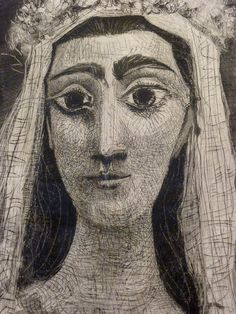 Pablo Picasso ~ Jacqueline as a Bride, 1961 (aquatint, drypoint, and engraving)