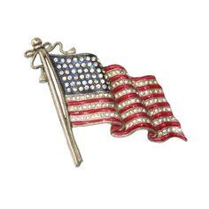 Patriotic American Flag Brooch. American. (1940s)