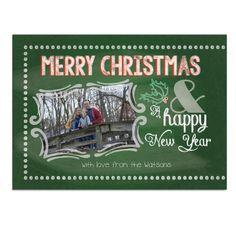 Custom Typographic Chalkboard Christmas Card