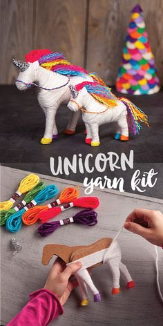 Yarn Unicorn Kit Wrap your way to two adorable unicorns with this magical crafting kit. Start with the cardboard forms and wrap, wrap, wrap your way to a duo of unicorns, complete with rainbow hooves, manes, bridles, and glittery horns! It's an irresistible wrap session for any unicorn-loving crafter. (affiliate)