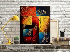 """Abstract Colorful Modern Wall Art Decor. Palette Knife Textured Painting on 16"""" x 20"""" Canvas by Nikki Chauhan, via Etsy $75. Free Shipping."""