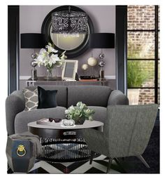 """""""Gray on Gray :: 020915"""" by irafra ❤ liked on Polyvore featuring interior, interiors, interior design, home, home decor, interior decorating, Eichholtz, Thomas O'Brien, Normann Copenhagen and CO"""