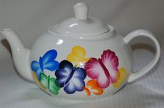 Hand Painted Ceramic Teapot Butterflies. via Etsy.