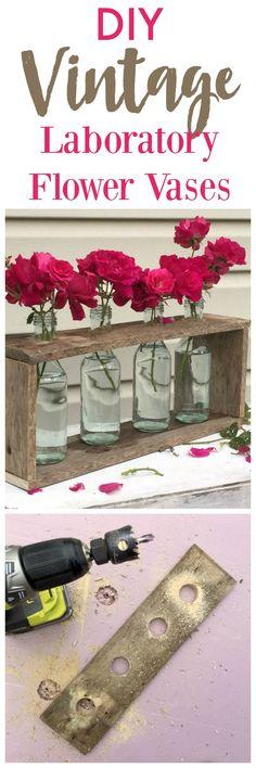 Vintage Style Laboratory Rack Flower Vases using pallet wood and glass bottles