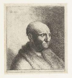 Buste van een kale man met bontjas, Rembrandt Harmensz. van Rijn, 1628 - 1631