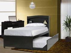 elegante cama canguro de madera color chocolate