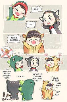 Dino Chen and Kitty Xiumin and... Baekhyun the Squirrel?