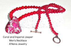 Men's Necklace  Faith  Genuine Imperial Jasper  by ANenaJewelry, $125.00