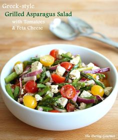 Greek-style Grilled Asparagus Salad with Tomatoes and Feta Cheese.  daringgourmet.com