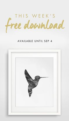 This week's free download is our brand new black and white marble hummingbird wall art. Perfect for redecorating this fall! Get the download at http://melindawooddesigns.com/printable-art/marble-hummingbird-art - only available until September 4th.