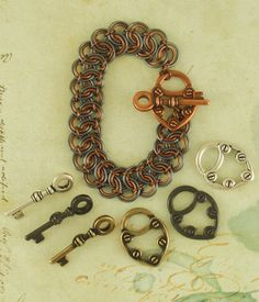 Battenburg Lace Bracelet Kit - Your Choice of Finish plus Key to Your Heart Toggle Clasp - Beginners Chainmaile. $32.50, via Etsy.