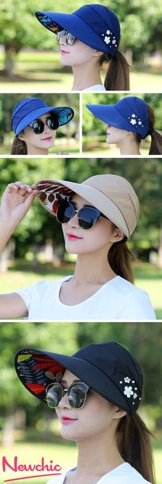 bc0d48e3101 Women Summer Outdoor Gardening Anti-UV Foldable Beach Sunscreen Sun Hat  Flower Print Cap Women s