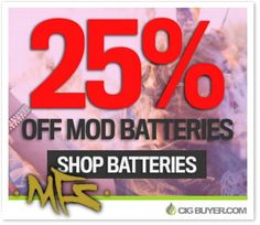 25% OFF E-Cig Mod Batteries at MFS: http://www.cigbuyer.com/mfs-25-off-mod-battery-deal/ #ecigs #vaping #vapemod #modbatteries #18650battery #vapebattery #vapelife #vapedeals