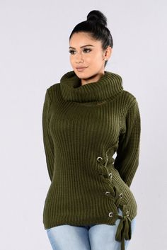 - Available in Olive - Turtle neck Sweater - Long Sleeve - Lace Up Front - Heavy Knit - 100% Acrylic