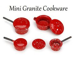 Miniature Granite Cookware, Dollhouse Miniatures, 1:12