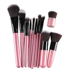 Hatop 11Pcs Cosmetic Brush Makeup Brush Sets Kits Tools Pink -- You can get more details by clicking on the image. (Note:Amazon affiliate link)