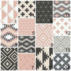 New to HudsonBabyCompany on Etsy: Crib bedding - pink grey black cream - girls crib items - nursery decor or blankets -aztec tribal themed plus / cross sign fabrics (20.00 USD)