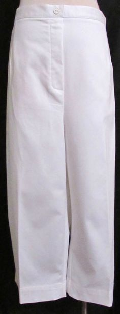 77bbaa68af6 NEW Womens Ladies ALFRED DUNNER White Cotton Stretch Blend Capri Crop Pants  24W  AlfredDunner