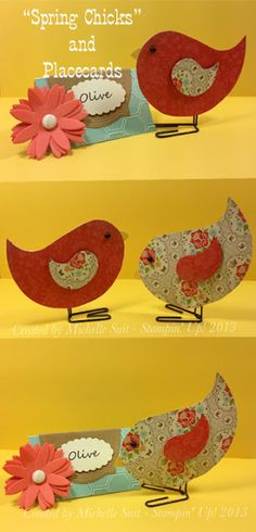 """Sweet Chicks and Place Cards"" - Created with Stampin' Up! Pop Up Posies…"