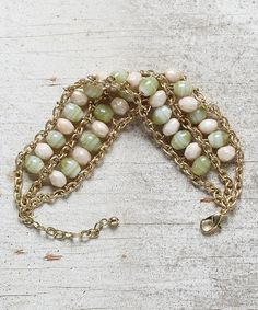 Look at this Light Green & Cream Beaded Double-Row Bracelet on #zulily today!
