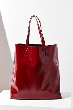 Patent Faux Leather Tote Bag
