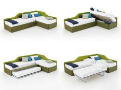 Birba upholstered trundle bed for kids - DIOTTI.COM