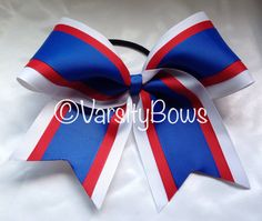 Royal Blue Red White Cheer Bow on Etsy, $10.00