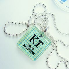 Chemistry Necklace Periodic Table Tile Glass by ShopGibberish. Pin if you like it! :) #periodictable
