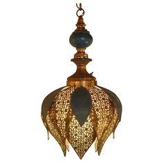 Vintage Brass Hanging Light Fixture Chandelier Mid Century Modern Turkish Moroccan Charm