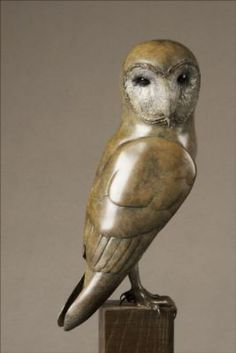 #Bronze #sculpture by #sculptor Eddie Hallam titled: 'Barn Owl (Bronze Perched Raptor Bird of Prey statuette)'. #EddieHallam