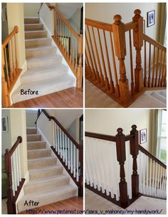 "Before / After of my big project of gel staining our banisters and painting 66 spindles white.  Materials: Foam brushes!!! Lots of 3"" and 2"" General Finishes Gel Stain - Brown Mahogany Sherwin Williams Pro-Classic Latex Semi-Gloss - Pure White Polyurethane"