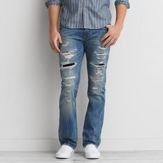 AEO Slim Boot Cut Core Flex Jeans ($50) ❤ liked on Polyvore featuring men's fashion, men's clothing, men's jeans, destroyed medium wash, jeans, mens slim fit bootcut jeans, mens ripped jeans, mens slim bootcut jeans, mens slim boot cut jeans and mens slim fit jeans