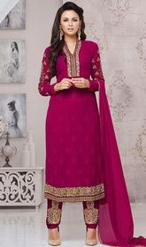 Violet Color Georgette Embroidered Pant Style Suit  #anarkalisuitwithpants #indiandresses2016 Look bold and beautiful in this violet color georgette embroidered pant style suit. The desirable lace and resham work across the attire is awe-inspiring. USD $ 86 (Around £ 59 & Euro 65)