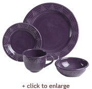 HF Coors' popular Aztec dinnerware collection features strong solid color for a simple bold table setting, perfect for family dinners or entertaining at home. The subtle geometric border is graciously raised, the glaze falls away leaving the design highlighted, framing your presentation and turning every meal into a star! Shown here in eggplant, it is also available in lime, mustard, cornflower blue, mango, and turquoise. Choose your favorite color or mix and match for your own individual…