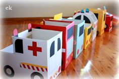 Who needs matchbox cars? Spend that rainy day making a collection of cardboard box vehicles for your kid's stuff animals.