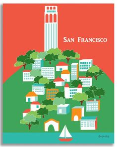 San Francisco, California - Coit Tower is available in an array of finishes, materials, and sizes, this retro inspired wall art will make San Francisco feel close to your heart with its bright color p