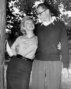Marilyn Monroe and Arthur Miller at Roxbury at a press conference to announce their engagement, 1956.