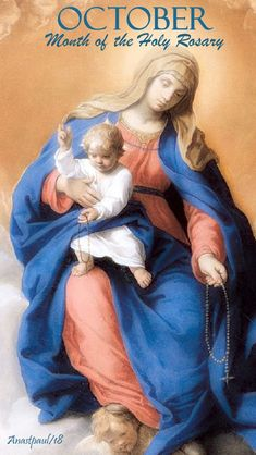 october - month of the holy rosary - 1 oct 2018 Novena Prayers, Catholic Prayers, Rosary Catholic, Our Lady Of Rosary, Holy Rosary, Blessed Mother Mary, Blessed Virgin Mary, Novenas Catholic, Jesus Mary And Joseph