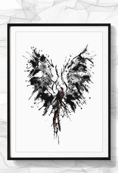 Beautiful print of Phoenix bird painting. Black and white wall art for your home. Office decor, Kitchen wall prints, Kids Room Art. Printable art is an easy way to decorate your home. Print, frame, hang...ready to go..