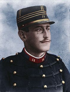 Alfred Dreyfus in 1894 (recolored picture). A maid find a sheet of paper about secrets of the French army in a basket in the German Embassy of Paris. Then the detective Sandherr discover it and accused Dreyfus.