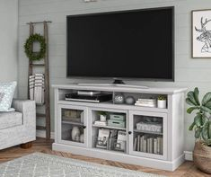 Darby Home Co Alpharetta TV Stand for TVs up to with Fireplace Included Colo. - Darby Home Co Alpharetta TV Stand for TVs up to with Fireplace Included Color: Dove Gray, Fir - Living Room Tv, Apartment Living, Home And Living, Living Room Without Fireplace, Tv Stand Ideas For Living Room, Small Living, Modern Living, Living Room Decor Above Tv, Modern Tv