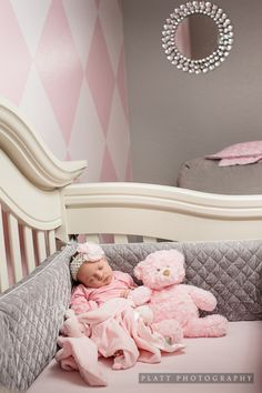 Grey and pink nursery.Who cares about the nursery,Dang cute baby! Nursery Room, Girl Nursery, Girl Room, Girls Bedroom, Bedrooms, My Baby Girl, Our Baby, Deco Kids, Shower Bebe