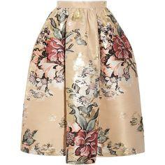 Fendi Metallic floral-jacquard midi skirt ($2,000) ❤ liked on Polyvore featuring skirts, cream, cream skirt, mid calf skirts, zipper skirt, jacquard skirts and metallic midi skirt