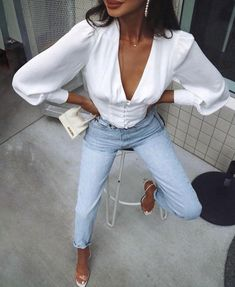 Puffed Sleeve Milk Maid Top Autumn Spring Summer Style Inspo Outfit Ideas Jeans And A Top Easy Looks Outfits Fashion Killa, Look Fashion, Fashion Outfits, Womens Fashion, Fashion Trends, Jeans Fashion, Casual Chic, Spring Summer Fashion, Autumn Fashion